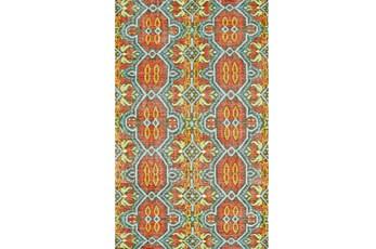 114X162 Rug-Orange And Aqua Hand Knotted Global Pattern