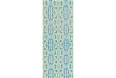 30X96 Rug-Aqua And Green Hand Knotted Global Pattern