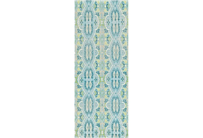 30X96 Rug-Aqua And Green Hand Knotted Global Pattern - 360