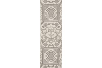 30X96 Rug-Graphite Hand Knotted Global Pattern