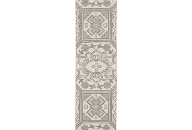 30X96 Rug-Graphite Hand Knotted Global Pattern - 360