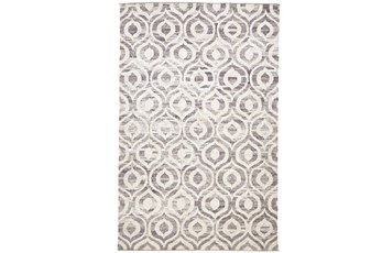 24X36 Rug-Charcoal Hand Knotted Distressed Ogee