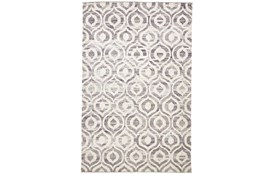 48X72 Rug-Charcoal Hand Knotted Distressed Ogee
