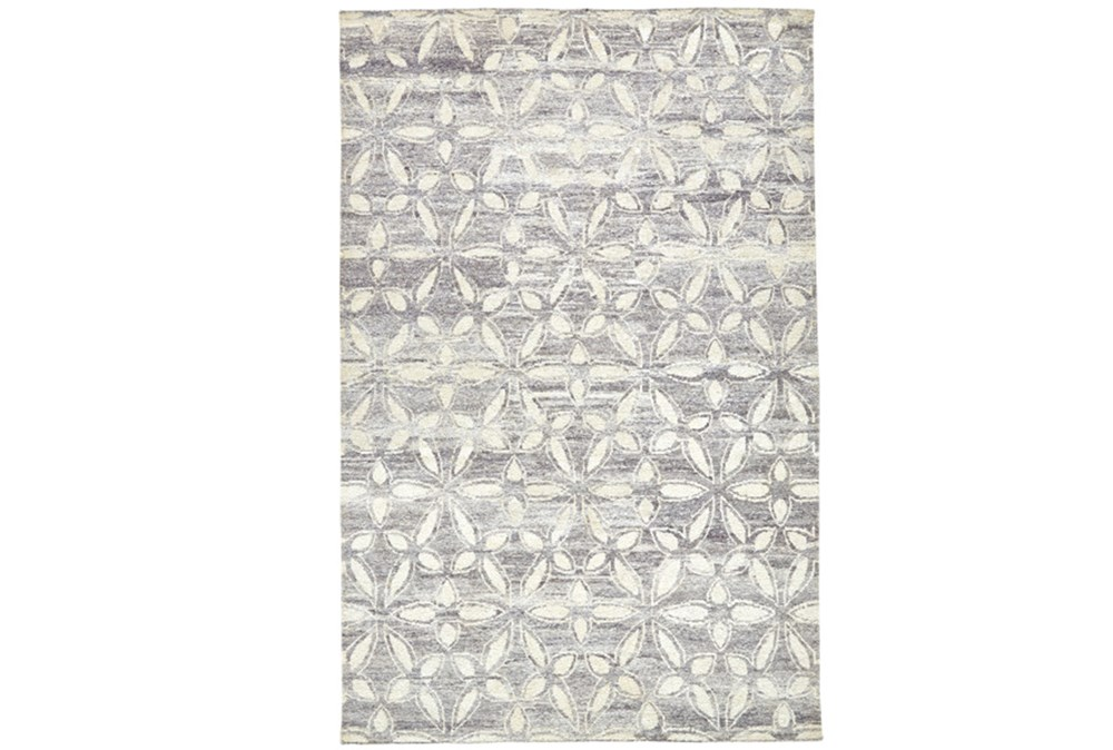 66X102 Rug-Graphite Hand Knotted Distressed Cutwork