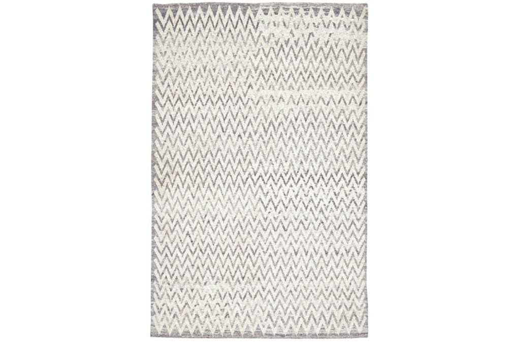 93X117 Rug-Grey Hand Knotted Distressed Chevron