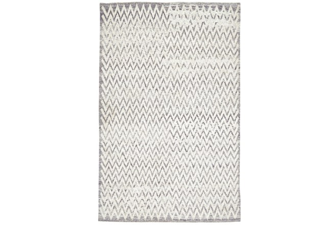 93X117 Rug-Grey Hand Knotted Distressed Chevron - 360