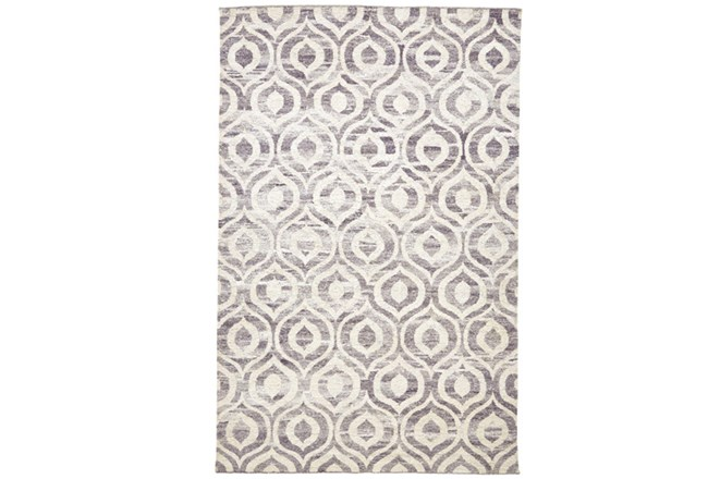 93X117 Rug-Charcoal Hand Knotted Distressed Ogee - 360