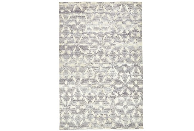 102X138 Rug-Graphite Hand Knotted Distressed Cutwork - 360