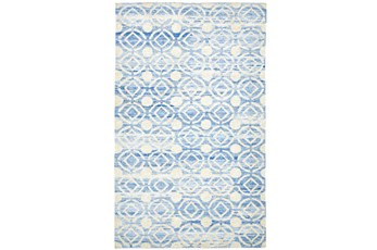 114X162 Rug-Cobalt Hand Knotted Distressed Circles