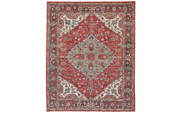 48X72 Rug-H& Knotted Saturated Red & Charcoal Traditional