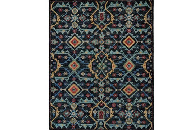 66X102 Rug-Hand Knotted Saturated Blue Traditonal - 360