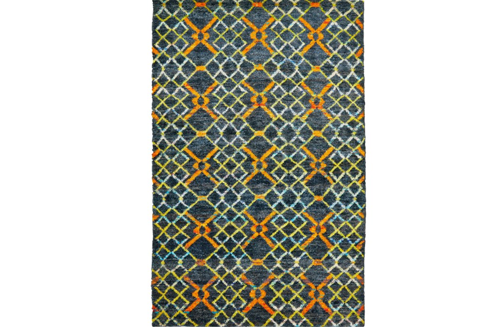 60X96 Rug-Charcoal And Pewter Zig Zag