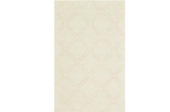 60X96 Rug-Ivory Tonal Quatrefoil