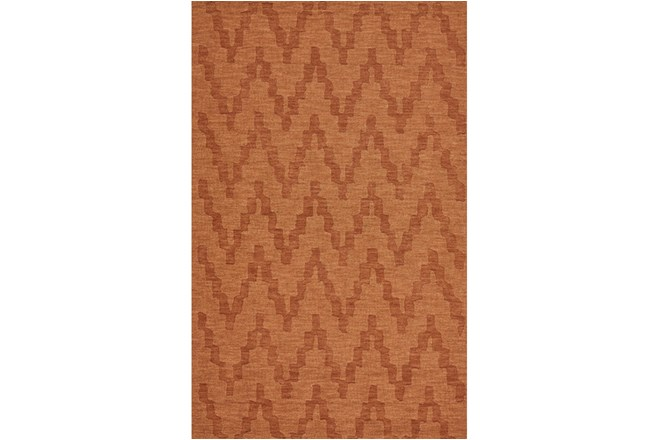 96X132 Rug-Orange Tonal Flamestitch - 360