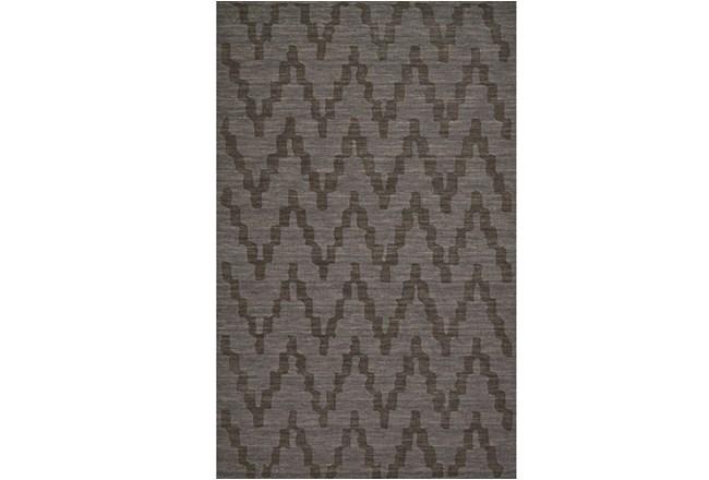 96X132 Rug-Charcoal Grey Tonal Flamestitch - 360