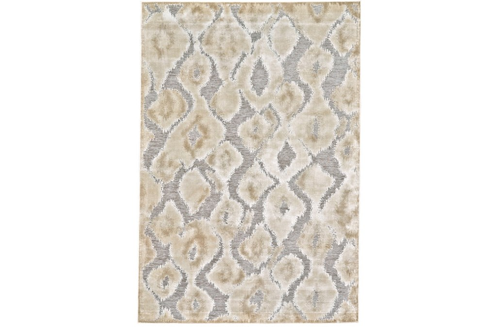 90X126 Rug-Pewter And Cream Ikat