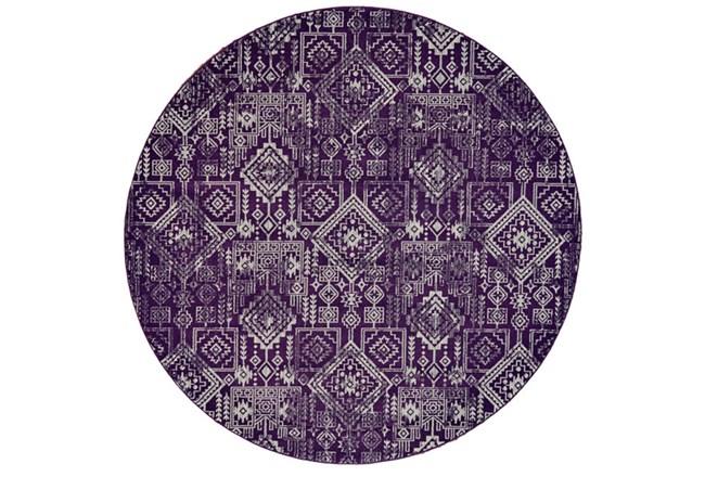 96 Inch Round Rug-Violet Turkish Pattern - 360