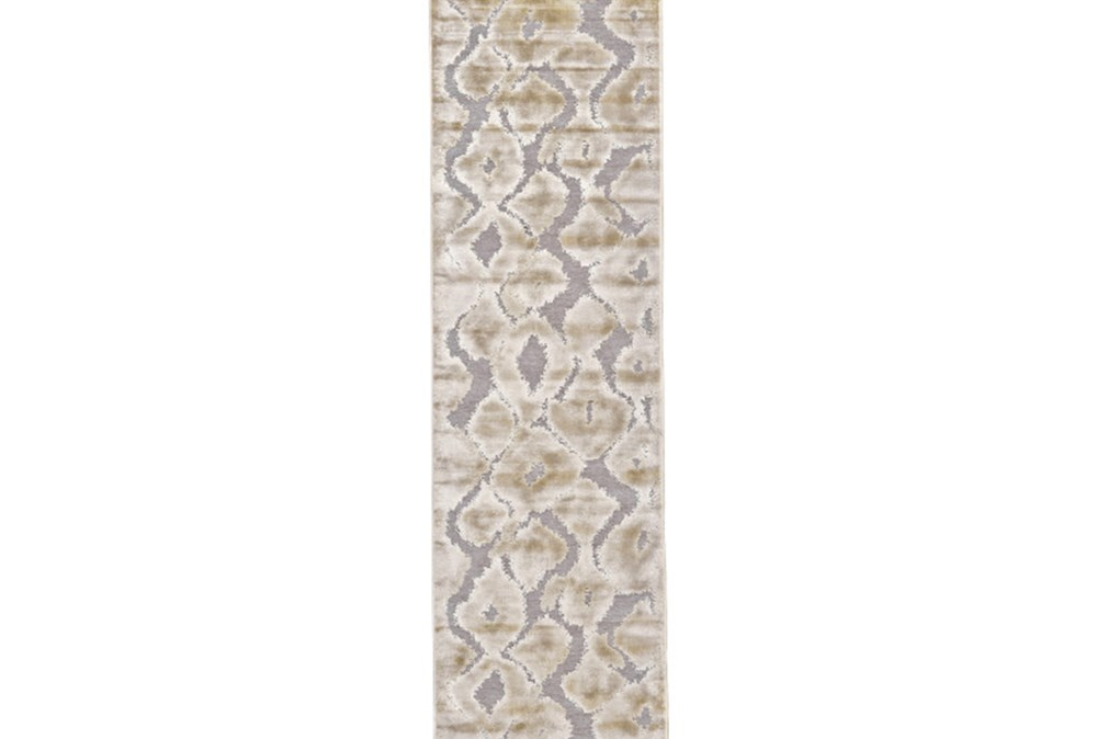 30X118 Rug-Pewter And Cream Ikat