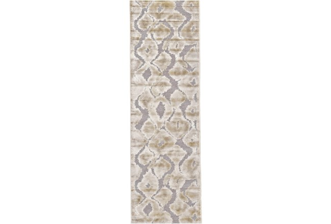 30X118 Rug-Pewter And Cream Ikat - 360