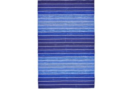 60X96 Rug-Indigo Ombre Stripe Flat Weave