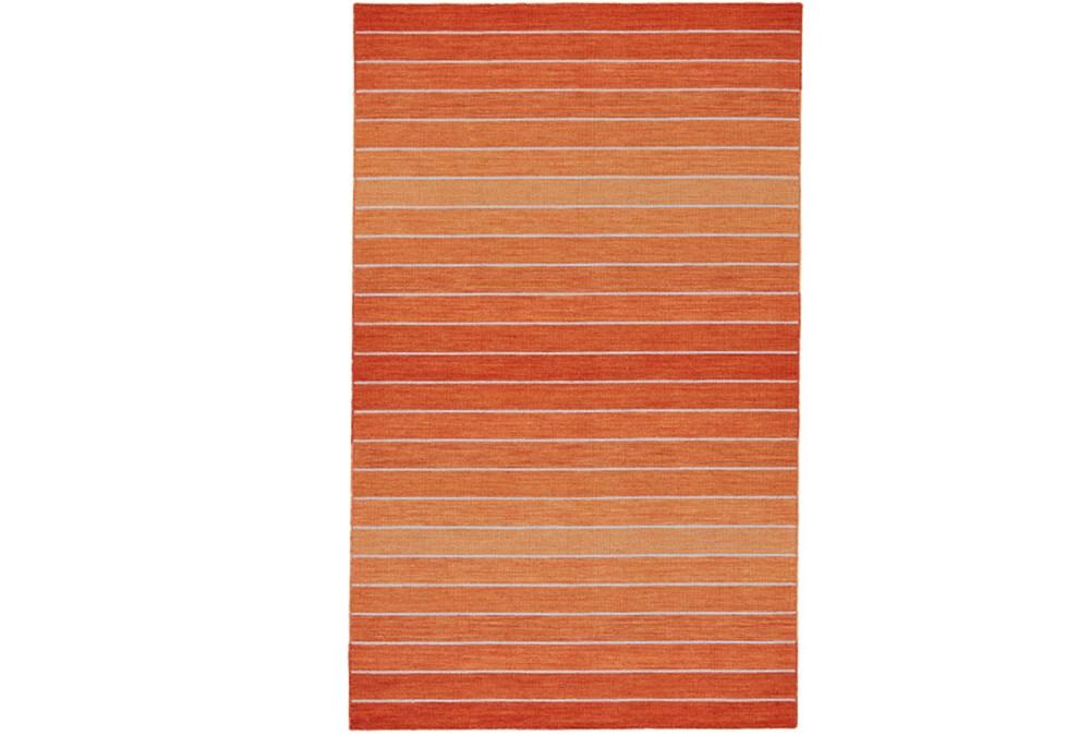 96X132 Rug-Orange Ombre Stripe Flat Weave