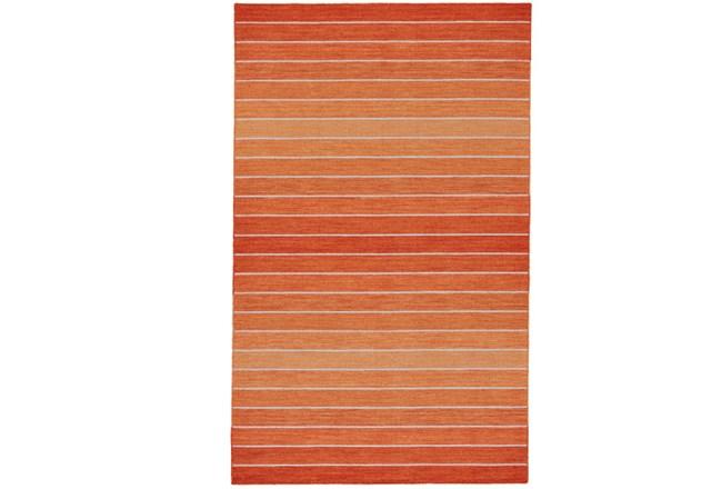 96X132 Rug-Orange Ombre Stripe Flat Weave - 360