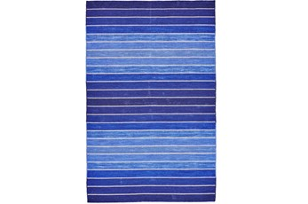 96X132 Rug-Indigo Ombre Stripe Flat Weave