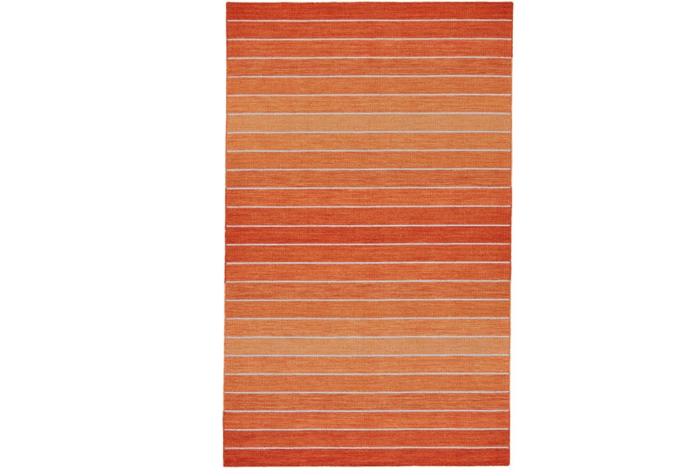 114X162 Rug-Orange Ombre Stripe Flat Weave