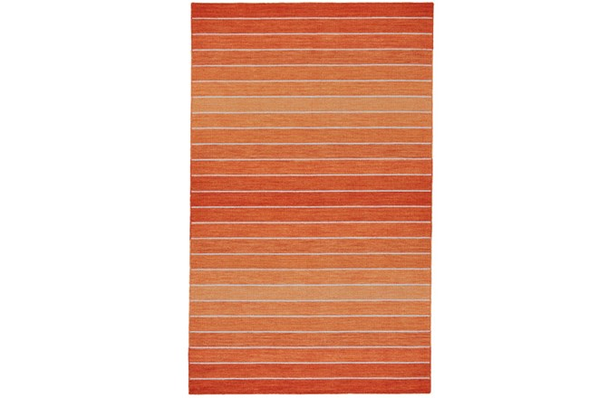 114X162 Rug-Orange Ombre Stripe Flat Weave - 360