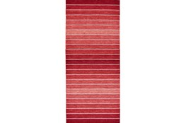 30X96 Rug-Red Ombre Stripe Flat Weave