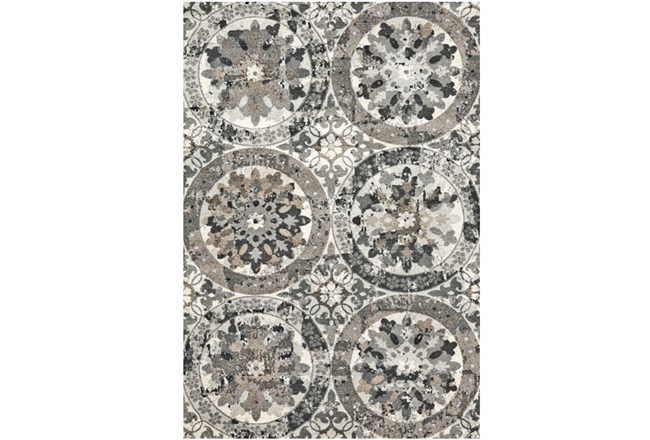 120X158 Rug-Stone Grey Distressed Round Medallions - 360