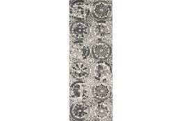 34X94 Rug-Stone Grey Distressed Round Medallions