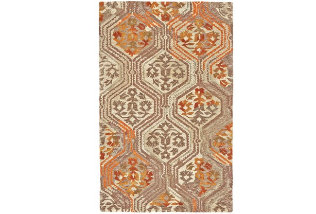 60X96 Rug-Orange And Taupe Floral Geometric - 360