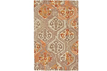 93X117 Rug-Orange And Taupe Floral Geometric