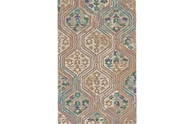 93X117 Rug-Green And Taupe Floral Geometric