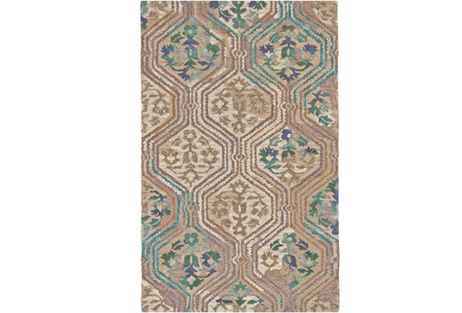 60X96 Rug-Green And Taupe Floral Geometric - 360