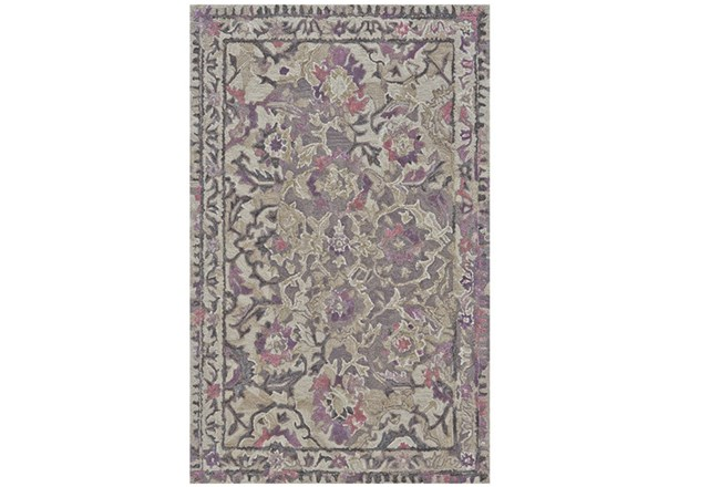 114X162 Rug-Lilac And Grey Traditional Floral - 360
