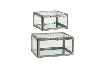 2 Piece Set Gold & Glass Boxes
