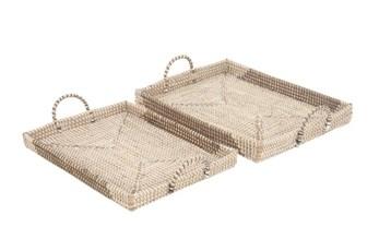 2 Piece Set Seagrass Trays