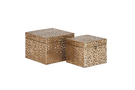 2 Piece Set Bronze Square Boxes