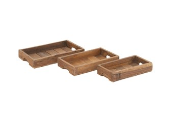 3 Piece Set Wood Crate Trays