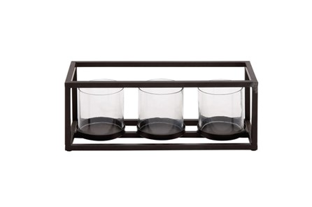 3 Votive Metal And Glass Candleholder