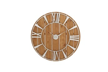 36 Inch Round Silver Metal Wood Clock