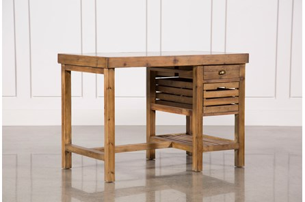 Reclaimed Pine/Galvanized Iron 2-Drawer Kitchen Island