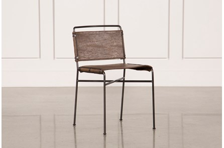 Distressed Brown & Waxed Black Dining Chair