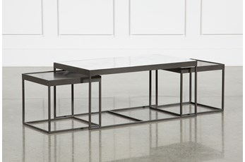 Polished White Marble & Gunmetal Nesting Coffee Table