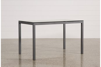 Ina Pewter 60 Inch Counter Table W/Clear Glass
