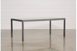 Ina Pewter 78 Inch Dining Table W/Frosted Glass