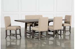 Jaxon Grey 6 Piece Rectangle Extension Dining Set W/Bench & Uph Chairs