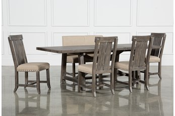 Jaxon Grey 6 Piece Rectangle Extension Dining Set With Bench & Wood Chairs